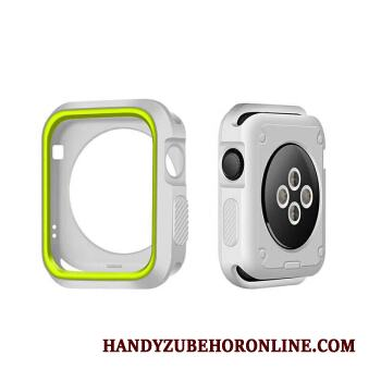 Apple Watch Series 3 Skydd Grön Vit Bicolor Fodral Silikon Skal