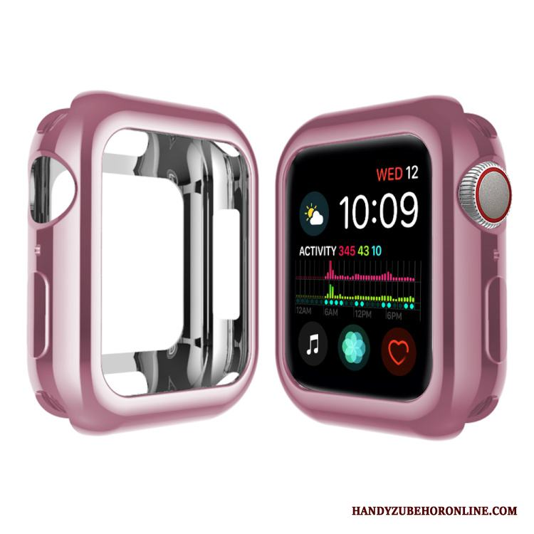 Apple Watch Series 4 Hemming Plating Skal Silikon Rosa Pu Fodral