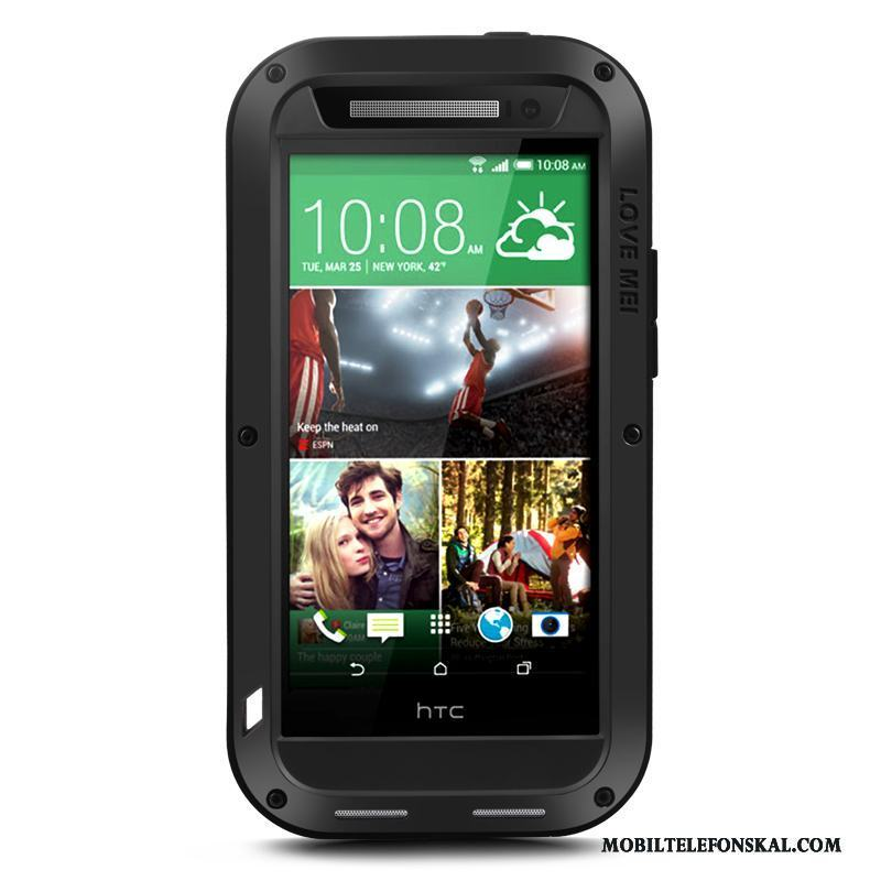 Htc One M8 Nubuck Metall Fodral All Inclusive Skydd Skal Svart