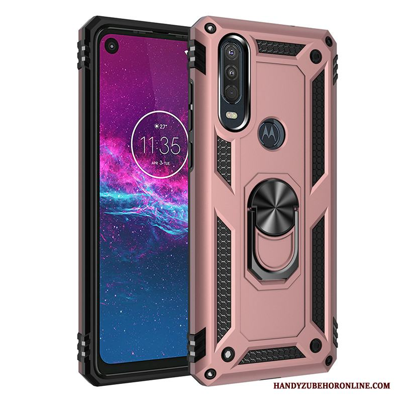 Motorola One Action Bil Ring Support Fallskydd Rosa Magnetic Skal Telefon