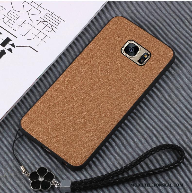 Samsung Galaxy S7 Mobil Telefon Skal Silikon Läder Mjuk Telefon Brun Billigt 84bfee24311e6