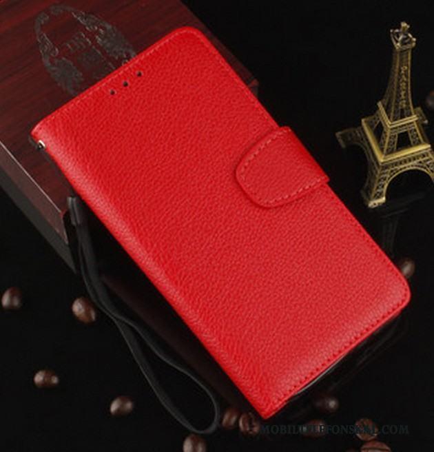 Sony Xperia X Skydd Läderfodral Mjuk Röd Täcka Väska Skal