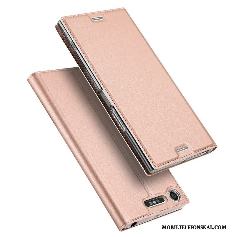 Sony Xperia Xz1 Compact Support Skydd Rosa Guld Mobil Telefon Business Skal Fodral