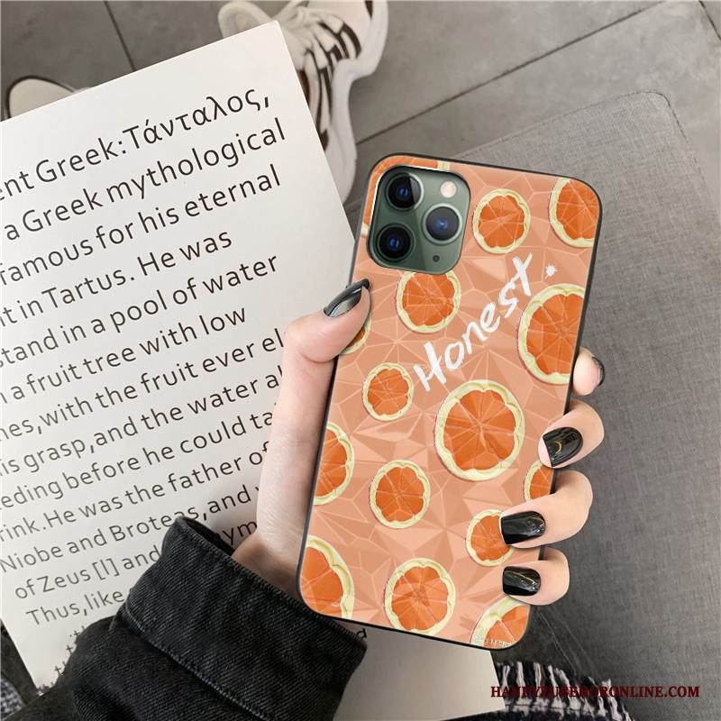 iPhone 11 Pro Cow Skal Telefon Silikon Orange Diamantform Net Red