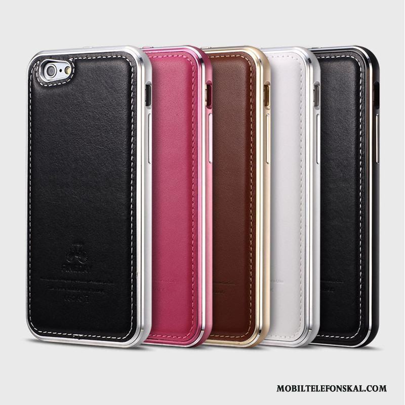 Iphone 6 6s Plus Fodral Metall Skal Skydd Telefon Svart Äkta Läder Till Salu c9f21595f5451