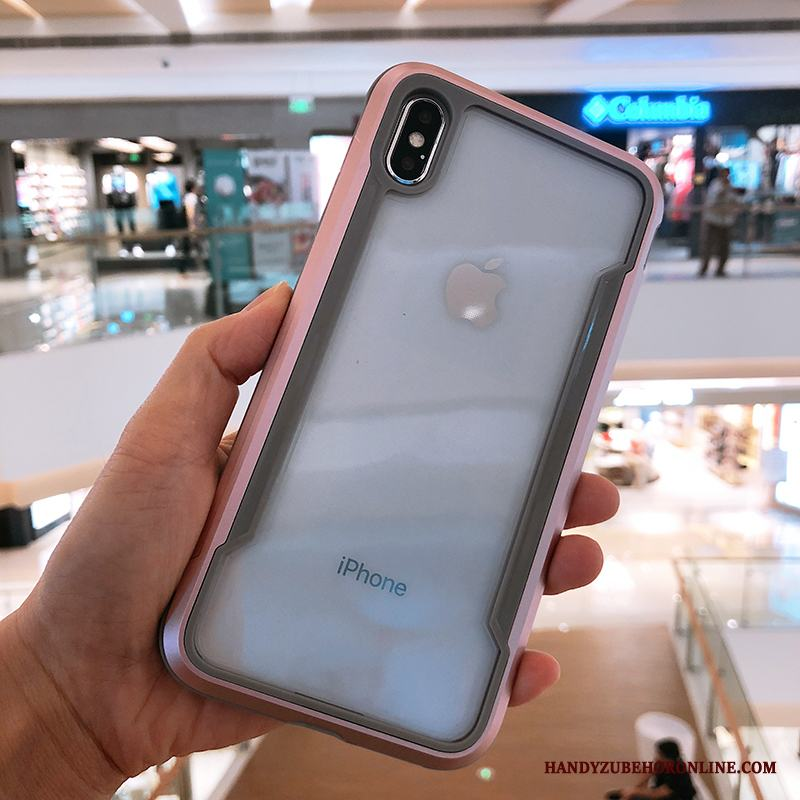 iPhone Xs Fallskydd Fodral All Inclusive Metall Transparent Skal Telefon Rosa Guld