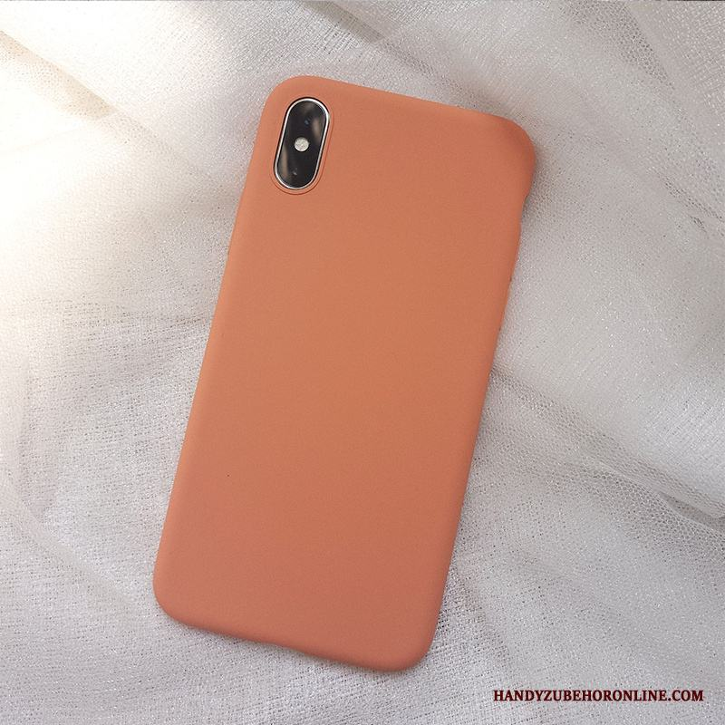 iPhone Xs Orange Kreativa Par Slim Trend Varumärke Skal Telefon Silikon